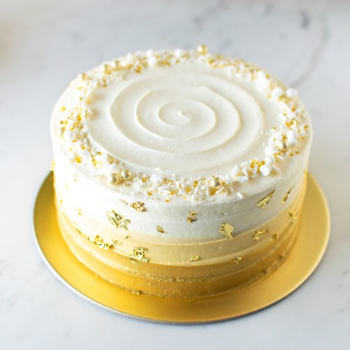 Gold Ombre Cake with Gold Leaves
