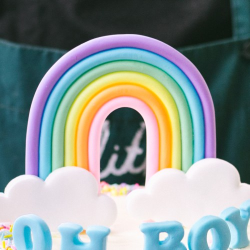 Rainbow Clouds Fondant Topper