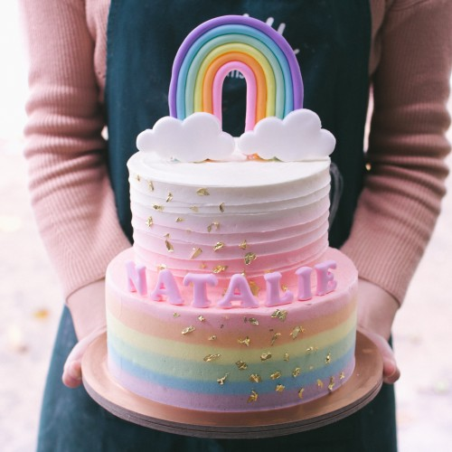 Two Tier Rainbow and Ombre with Cascading Gold Cake