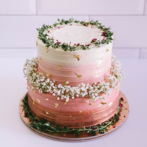 Two Tier Rose Gold Ombre with Thyme and Baby's Breath